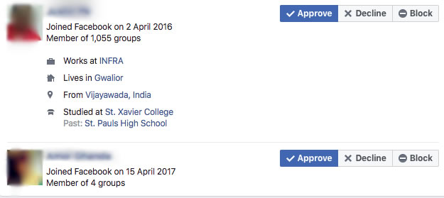 image of group requests on facebook