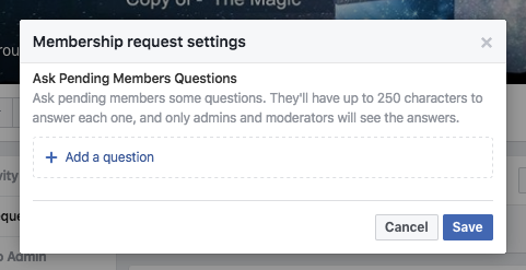 image of facebook groups admin questionnaire