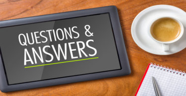image of tablet with the words questions and answers